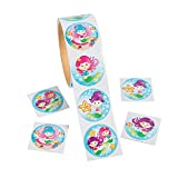 """Mystical Mermaid Stickers (Roll of 100) – 1.5"""", 5 Splash Worthy Designs- Great for Kids, Teachers, Party Favors, Rewards, Craft Projects, Water Bottles, Scrapbooks, Calendars, Planners, and Journals"""