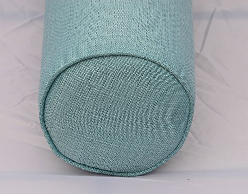 dqp Round Bolster Pillow Cover. Linen-Turquoise