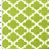 Lime Green/White Moroccan Minky, Fabric by The Yard