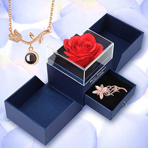 Migaven Rosa Eterna, Regalos para San Valentin con Tarjeta de Felicitación Broche y Collar Romántico, Regalos para Madres, Regalos para San Valentin