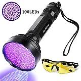 [page_title]-UV Taschenlampe Schwarzlicht 100 LEDs 395nm Ultraviolet Lampe mit UV-Schutzbrille Mini Ultraviolett Licht Urin detektor für Hunde & Katzen, Aufsuchen von Fleck auf Teppichen, Gardinen, Mbel