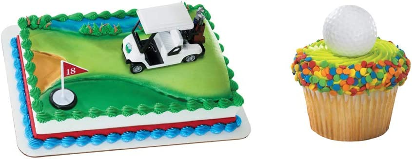 Several Colour Options Available Golfer Clubs Shaped Cake Toppers /& Cup Cake Toppers