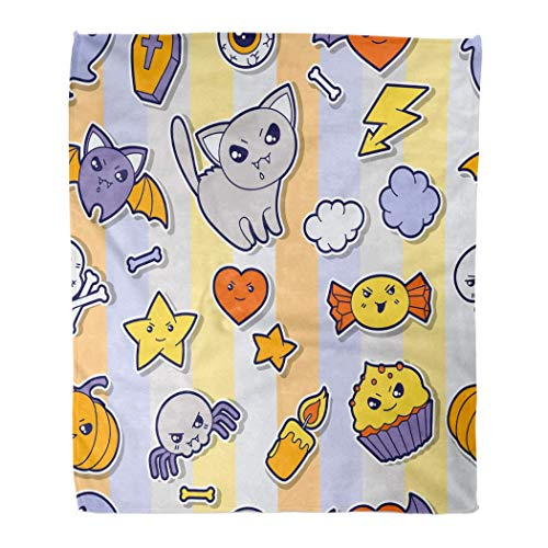 MIKONG Asjdad Blanket 50 X 60 Inch Coffin Halloween Kawaii Cute Cloud Candy Star Love Bat Arrow Cross Candle Bone Lightweight Fluffy Breathable Warm Room Decoration Blanket Four Seasons 50' X 60'