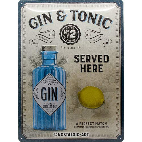 Nostalgic-Art Open Bar - Gin & Tonic Served Here - Idea de regalo para fans de cóctel, cartel de chapa retro, metal, decoración vintage, 30 x 40 cm