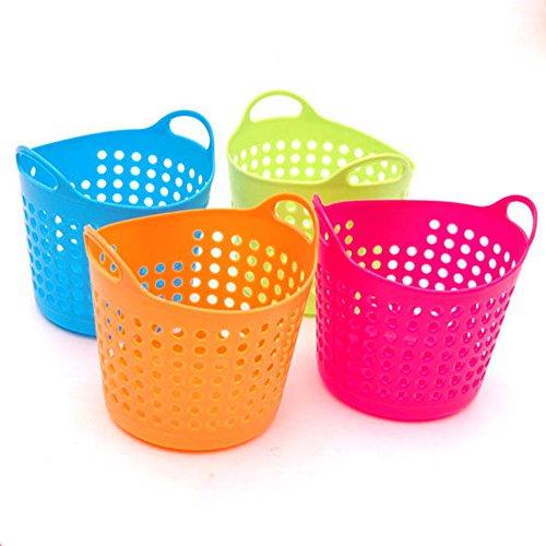 Gemini_mall® Mini-Schmutzkorb, 4 Stück, sortierte Farben, zur Aufbewahrung von Stiften, Bleistiften, Make-up-Pinseln, Mehrzweck-Schreibtisch-Organizer (blau, grün, orange, rosa)