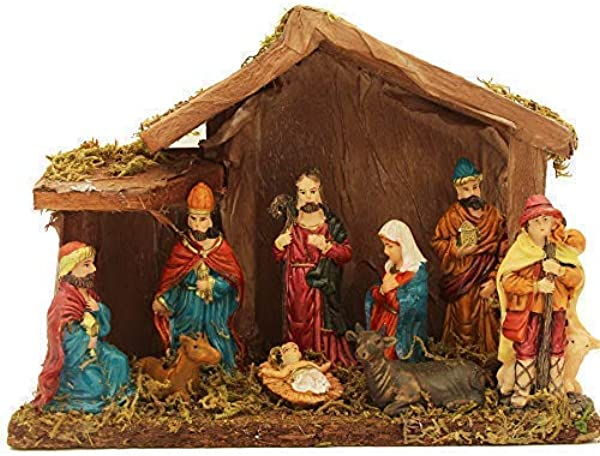 Foci Cozi Christmas Nativity Figurine Nativity Scene Statue With Wooden And Moss Stable