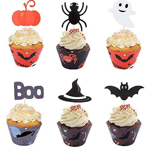 Kalolary Dekoracje Na Babeczki Na Halloween, 24 kawałki dyni Ghost Spider Bat Cupcake Decor z Cupcake Cupcakes na Halloween Party Kitchen Cupcake Baking