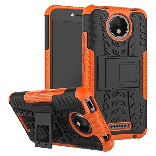Sunrive Hülle Für Lenovo Moto C Plus, Tasche Schutzhülle Etui Hülle Cover Hybride Silikon Stoßfest Handyhülle Hüllen Zwei-Schichte Armor Design schlagfesten Ständer Slim Fall(Orange)