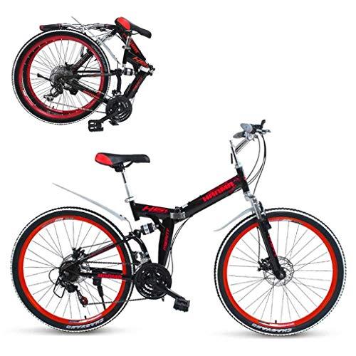seveni Bicicletta Pieghevole Freni a Doppio Disco Bici da Montagna a 21 velocità Bicicletta Pieghevole Bicicletta Pieghevole da 24/26 Pollici (Rossa)
