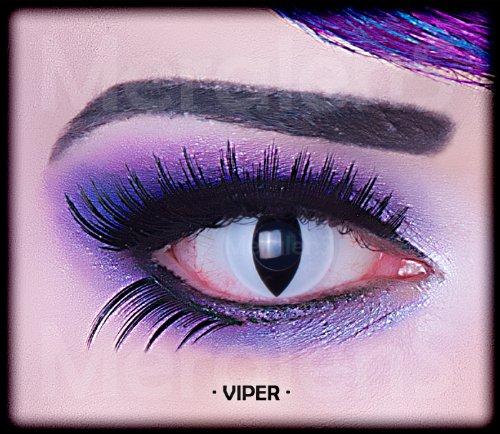Farbige schwarz weise weisse crazy Kontaktlinsen mit Stärke -1,50 crazy contact lenses Katzenauge weiß Viper Cat Eye 1 Paar mit Verdrehschutz! Mit Gratis Linsenbehälter! perfekt zu Halloween, Fasching und Karneval