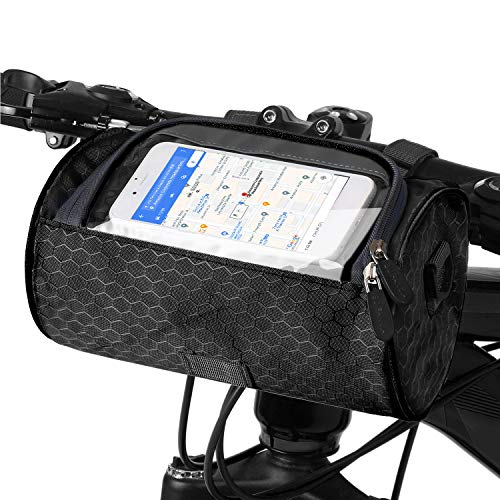 DOUBLE 2 C Bike Handlebar Bag Bicycle Basket Cycling Accessories Large-Capacity Waterproof Front Frame Bag with Shoulder Strap and Transparent Pouch Touch Screen for Road Mountain Bike Outdoor