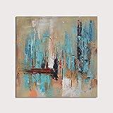 HIMAmonkey 100% Pintura Al óLeo Pintado A Mano Cuadros Abstractos Modernos Arte de Pared sobre Lienzo Estirada y Enmarcado decoración Listo para Colgar,20'*20'(50 * 50cm)