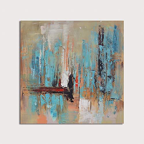 """HIMAmonkey 100% Pintura Al óLeo Pintado A Mano Cuadros Abstractos Modernos Arte de Pared sobre Lienzo Estirada y Enmarcado decoración Listo para Colgar,20""""*20""""(50 * 50cm)"""