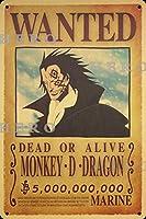 海賊アニメMONKEY D DRAGONモンキーDドラゴン さびた錫のサインヴィンテージアルミニウムプラークアートポスター装飾面白い鉄の絵の個性安全標識警告バースクールカフェガレージの寝室に適しています