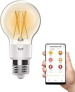 Luz de filamento cálido Yeelight, bombilla LED Edison inteligente inteligente de 2700K, 6W regulable, 6W, funciona con Homekit, Mi hogar, Alexa Voice Control (Soltero)