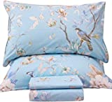 Queen's House Egyptian Cotton Birds King Size Sheets Set Blue Luxury Bedding Collection Set Deep Pocket Set-P