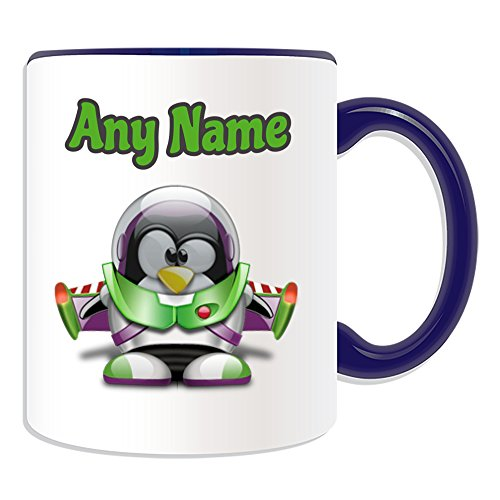 Gepersonaliseerd geschenk - Buzz Lightyear Mok (Penguin Cartoon Character Kostuum Design Thema, Kleur opties) - Elke naam/bericht op uw unieke - dom grappige Novelty Kawaii Humor Anime Animation Film Film Spel Nieuwe kunst Clipart Episode TV Televisie Series Japan Japanse Manga Comedy Strips Boek Disney Tekenen Schilderen Superhero Hero Super Toy y Woody