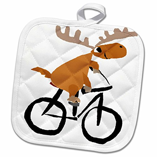 3dRose Funny Moose Riding A Bicycle Art Potholder 8 x 8