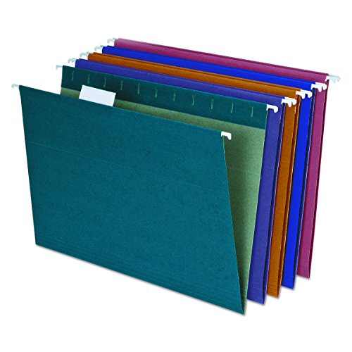 EarthWise by Pendaflex 100% Recycled Hanging Folders, Letter Size, 1/5 Cut, Assorted Colors, 20 per Box (35117)
