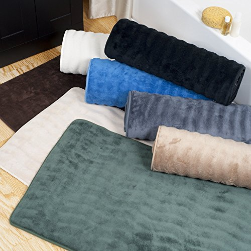 Lavish Home Microfiber Memory Foam Bathmat – Oversized Padded Nonslip Accent Rug for Bathroom, Kitchen, Laundry Room, Wave Pattern (Black)
