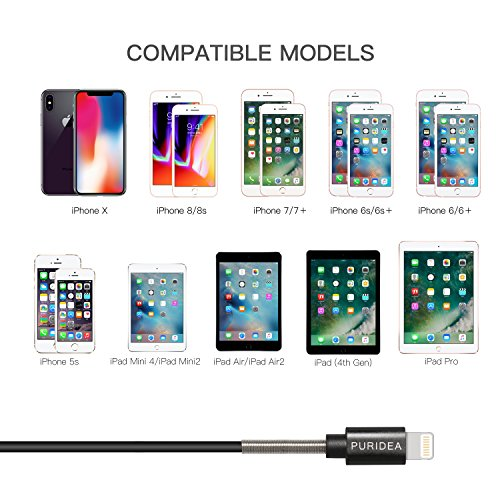 Puridea Extra Long Durable Lightning Charger Cable, Multi 5 Pack (6Ftx2 3Ft x2 1Ft x1) Lightning Cord to USB Cable Compatible iPhone X 8 7 6S 6 Plus iPad 2 3 4 Mini, iPad Pro Air, iPod (Black)