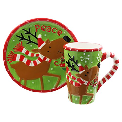 19 oz Caramic Mug and Coaster Set with Gift Box (Milu Deer)