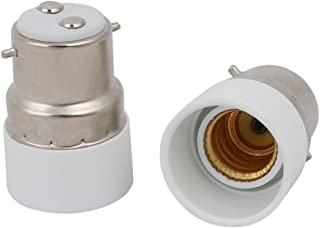uxcell 2pcs B22 to E14 Extender Adapter Converter Lamp Bulb Socket Holder White