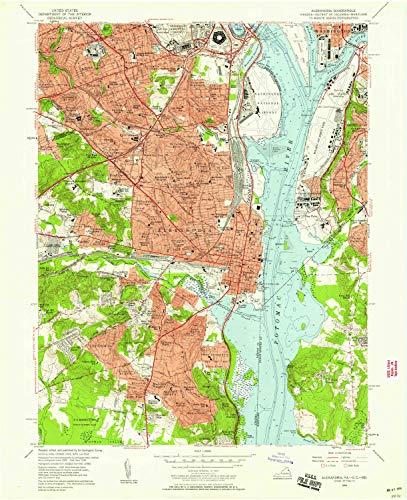 YellowMaps Alexandria VA topo map, 1:24000 Scale, 7.5 X 7.5 Minute, Historical, 1956, Updated 1958, 27 x 22 in - Paper