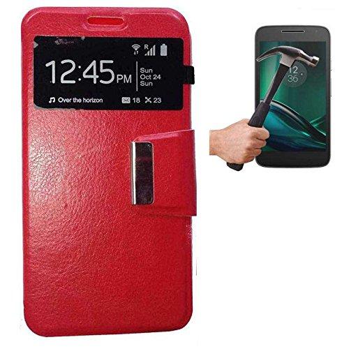 Todobarato24h Funda Libro Ventana ROJA Motorola Moto G4 Plus + Protector DE Cristal Templado