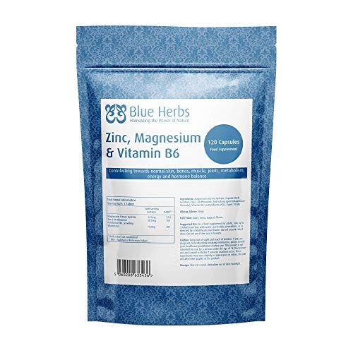 Blue Herbs Zinc, Magnesium & Vitamin B6 | 120 Capsules | Contributes Towards Normal Muscles, Bones, Hair, Skin & Nails
