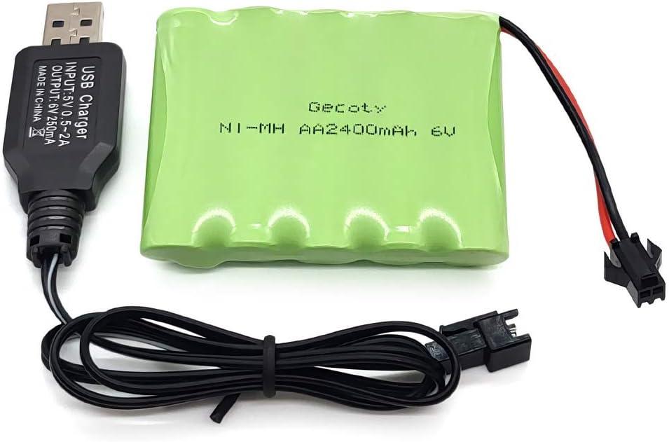 Gecoty® Batería recargable Ni-MH AA de 6V 2400mAh con cable de carga (Conector SM)