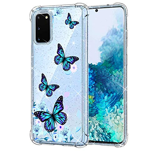 KIOMY Clear Glitter Case for Samsung Galaxy S20, Girls Women Bling Sparkle Shiny Luxury Cases with Flowers Butterfly Design Shockproof Bumper Protective Cell Phone Back Cover Slim Fit Flexible Shining