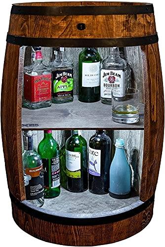 weeco Bar Schränk LED. Weinregal Weinschrank XL. Fass Vintage deko Wohnzimmer. Minibar Gin Whisky Bier. Weinfass Stehtisch. Holzfass für Gläser & Flaschen. Wine Rack geschenkset. Bartisch mit Holz