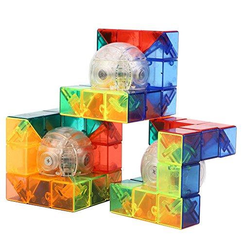 HJXDtech® Moyu Idea Creativa Cubo - Cristal Transparente geométrica 3D Cubo mágico Ilimitado Imaginando Rompecabezas para la Relajación (3 Paquetes)