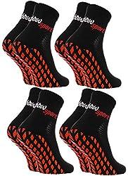 Rainbow Socks - Women Men Neon Sneaker Sport Stopper Socks - 4 Pairs - Black - Sizes 44-46