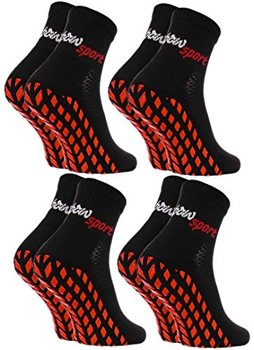Rainbow Socks - Damen Herren Neon Sneaker Sport Stoppersocken - 4 Paar - Schwarz - Größen 39-41