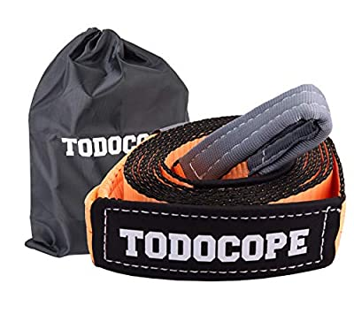 """TODOCOPE 3""""x20ft 33,000lb Break Strength,Heavy Duty Recovery Tow Strap, with Reinforced Loops Protective Sleeves,Storage bag, Tree Saver Strap,Winch Extension Strap,Emergency Off Road Towing Rope"""