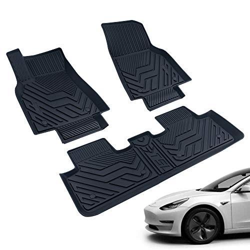 FEXON All-Weather Floor Mats for 2020-2020 Tesla Model Y Custom TPE Waterproof Fit Car Floor Liners 1st & 2nd Row(Black)