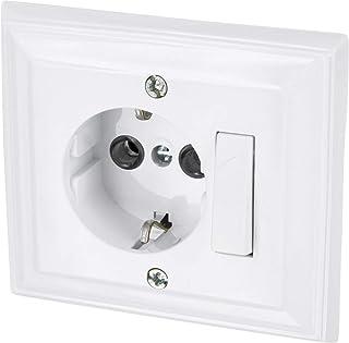 Up – Enchufe con interruptor universal de – Protección infantil – All-in-One – Marco + rasante de uso + Protectora (Serie G1 Color Blanco)