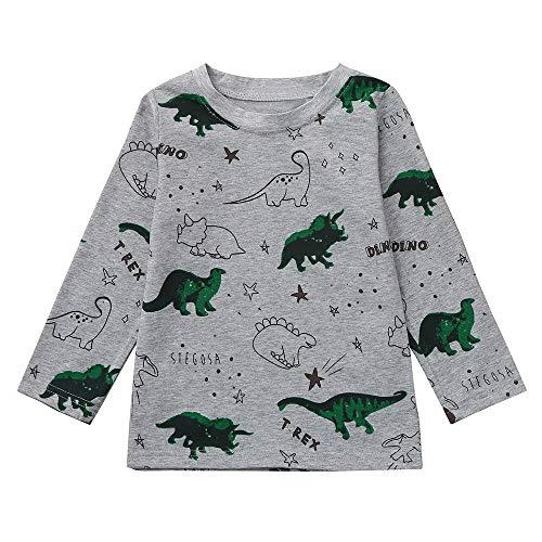 Sensail Sweat pour Enfants Automne Garçons Manches Longues Imprimé Dinosaure Pull Mode Casual Pyjama Shirt 1-5 Ans