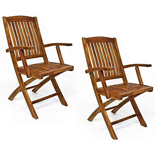 Set 2 sedie pieghevoli eden con braccioli in legno teak da giardino