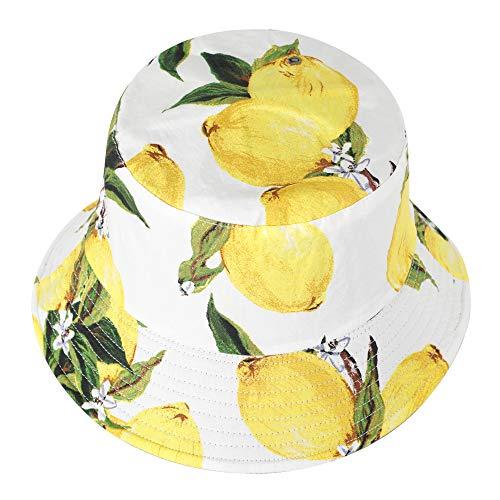 ZLYC Unisex Früchte Druck Sonnenhut Strandhut Fishermütze Outdoor-Hut (Zitronene Weiß)