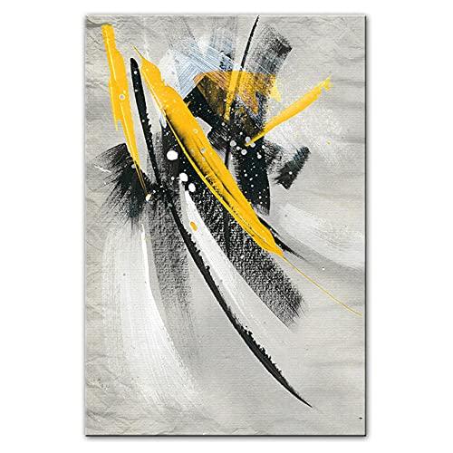 Pintura abstracta de la lona de la pluma del garabato Cartel de la impresión abstracta moderna Arte de la pared Estilo nórdico Decoración de la sala de estar del hogar Imagen mural 50x70cmx1 Sin marco