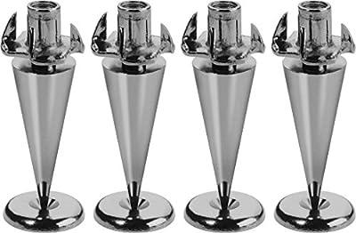 Monacor Ultra Slim Version 4 Piece Speaker Spikes Set - Black/Chromium Plated by Monacor