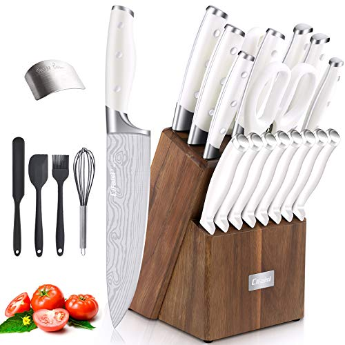 Knife Set, 23 PCS Kitchen Knife Set with Block, Germany High Carbon Stainless Steel Chef Knife Block Set, The Most Professional Knives Set for Kitchen with Sharpener & Finger Guard, Ultra Sharp, White
