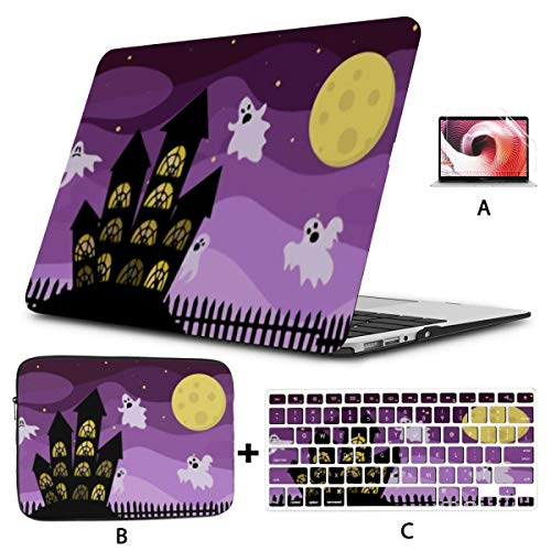 MacBook Pro Case Concept Halloween Scary Ghosts Fly Around Compatible with 13' Old Pro CD Drive 2008-2012 Version A1278 Plastic Case Shell Case&Sleeve Bag&Keyboard Skin&Screen Protector