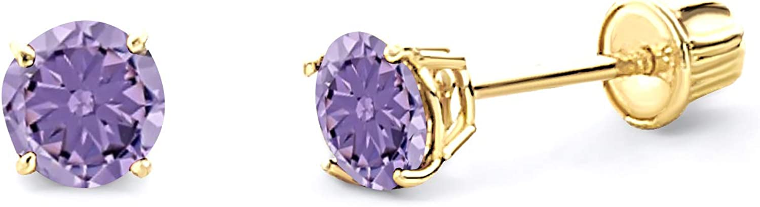 free shipping Wellingsale 14K Yellow 5 ☆ popular Gold Polished 4mm Zi Cubic CZ Round Birth