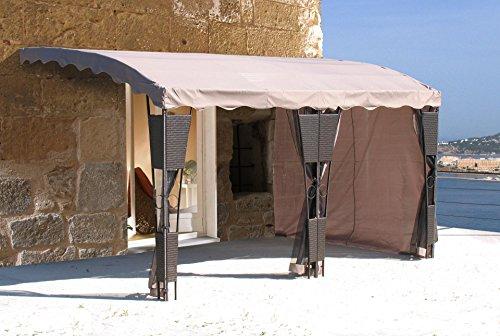 GRASEKAMP Qualität seit 1972 3 Seitenteile zu Anbaupergola Mallorca Rattan Taupe Sichtschutz Sonnenschutz