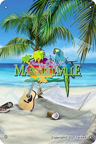 Margaritaville Strand Papagei Hängematte Gitarre Hausschuhe Metall Retro Look 20 x 30 cm Dekoration Kunst Schild für Zuhause Küche Bad Bauernhof Garten Garage inspirierende Zitate Wanddekoration