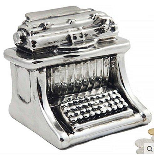 QYL Kamera Schreibmaschine Spardose Sparschwein Keramik Foto Papier Münze Silber,Typewriter